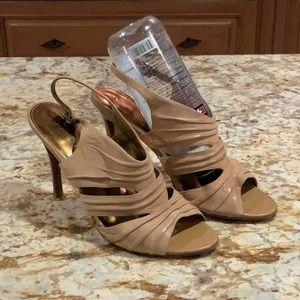 Pretty MARC FISHER Leather dress sandal-wood heel